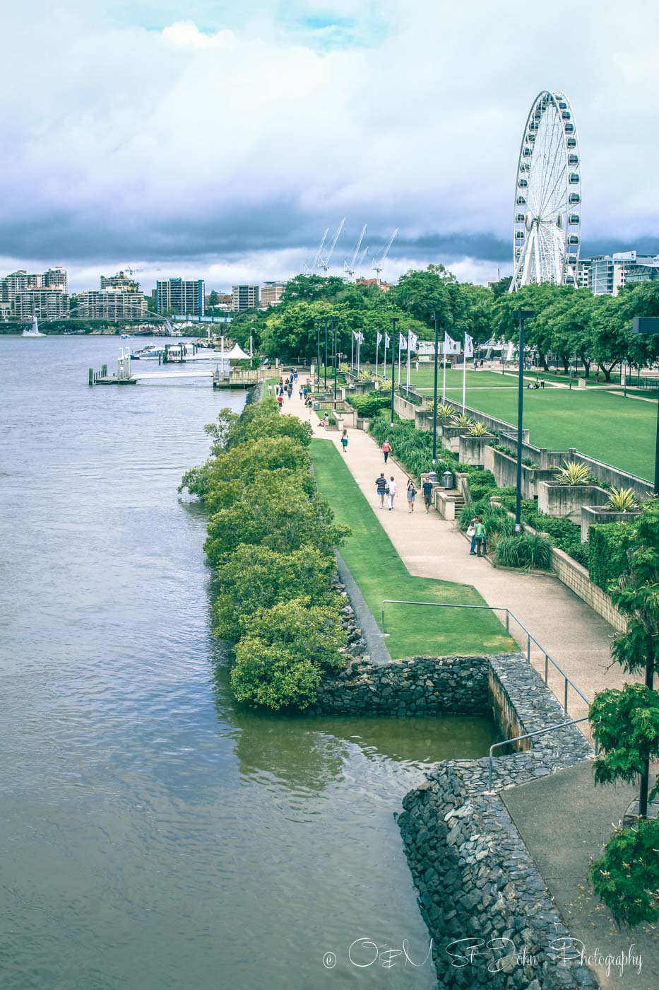 Clem Jones Promenade runs along the river in South Bank. Brisbane