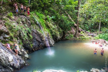 Trajectory of a boy jumping into the pools at the Cougal Cascades in Mount Cougal National Park, Queensland, Australia