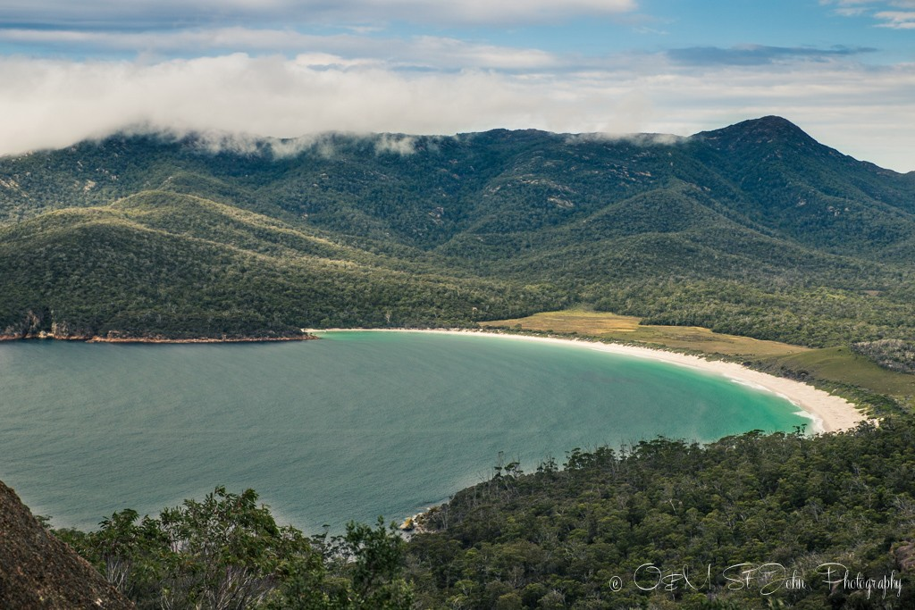 Wineglass Bay. View from the Wineglass Bay Lookout. Freycinet National Park