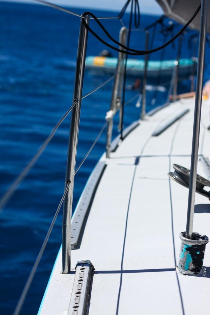The deck of our maxi sail boat. Sailing Whitsundays, Australia