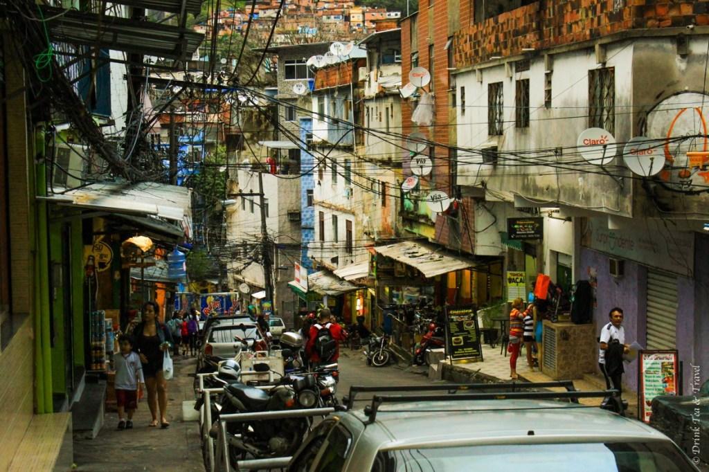 Estrada da Gávea, the main street in Rocinha, the largest favela in Rio de Janeiro