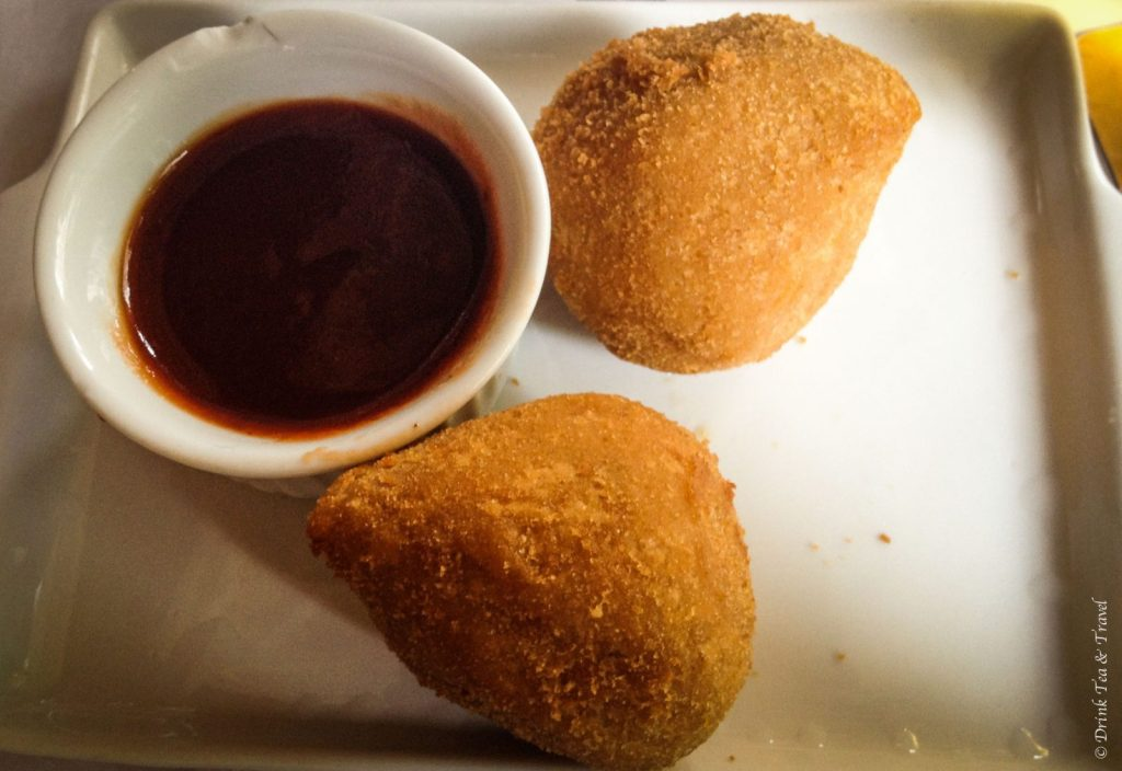 Brazilian dishes: Coxinha - shredded chicken fried in batter