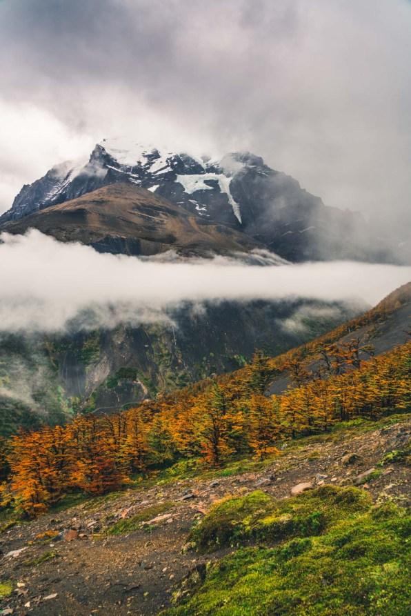 Torres del Paine W Trek Clouds ride over Cerro Paine in Torres del Paine National Park, Patagonia, Chile