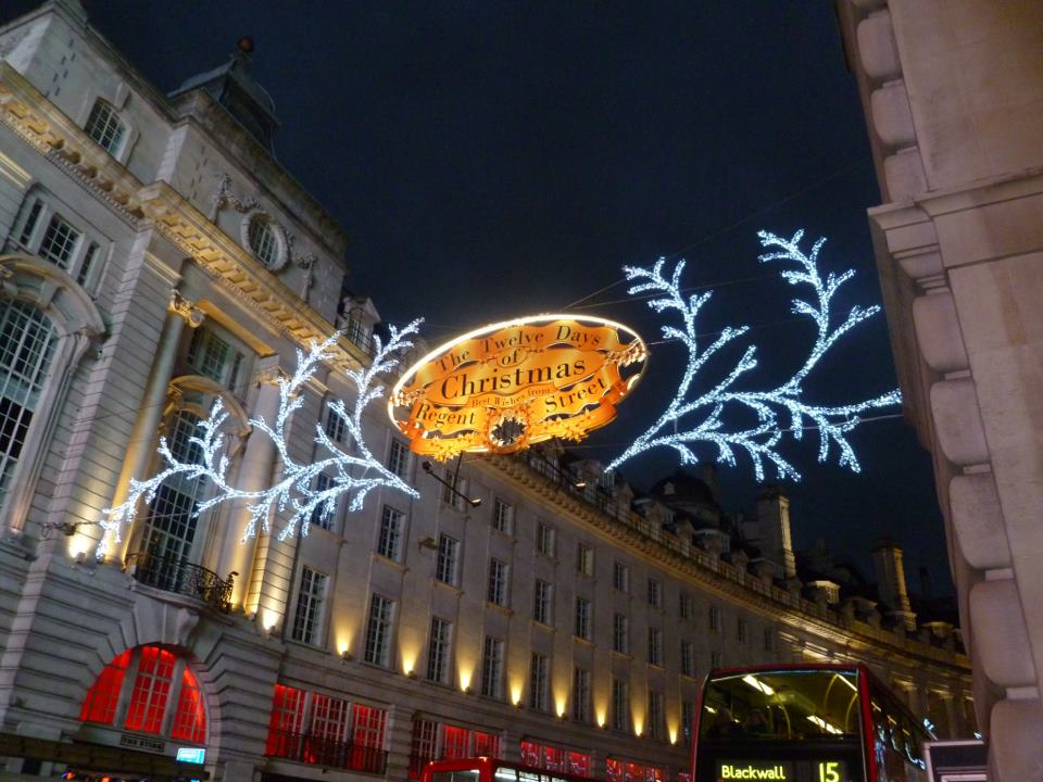 Christmas decorations in London - photo by Kim Barrett