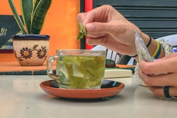 Brewed coca tea in Bogota, Colombia
