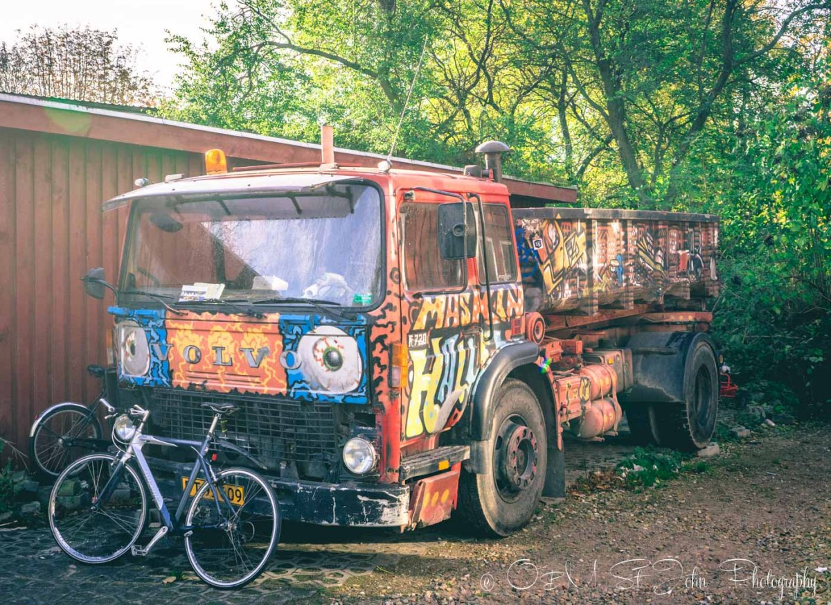 Funky car in Freetown Christiania, Copenhagen. Denmark