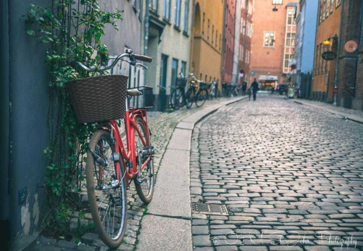 Cobblestone street in Copenhagen. Denmark