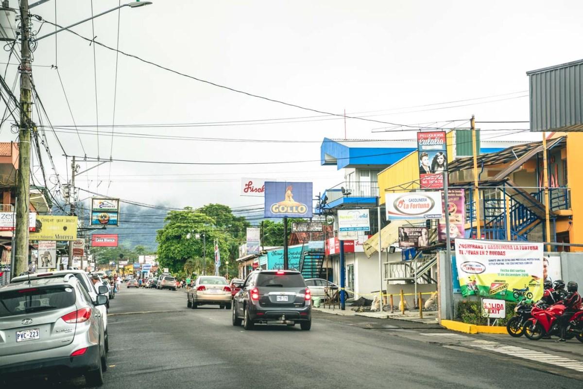 La Fortuna town, getaway to Arenal Volcano