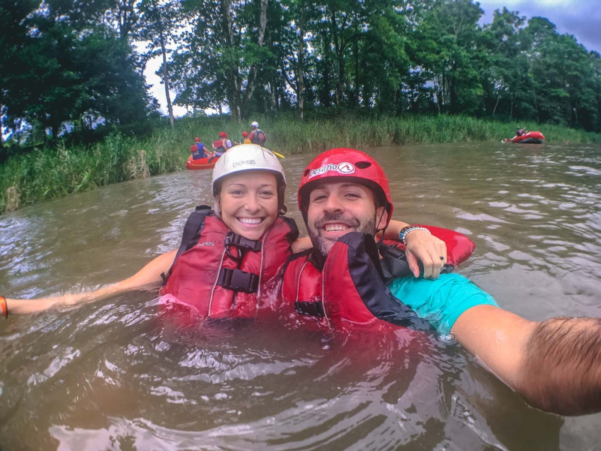 Floating along the Balsa river after 2 hours of intense rafting!