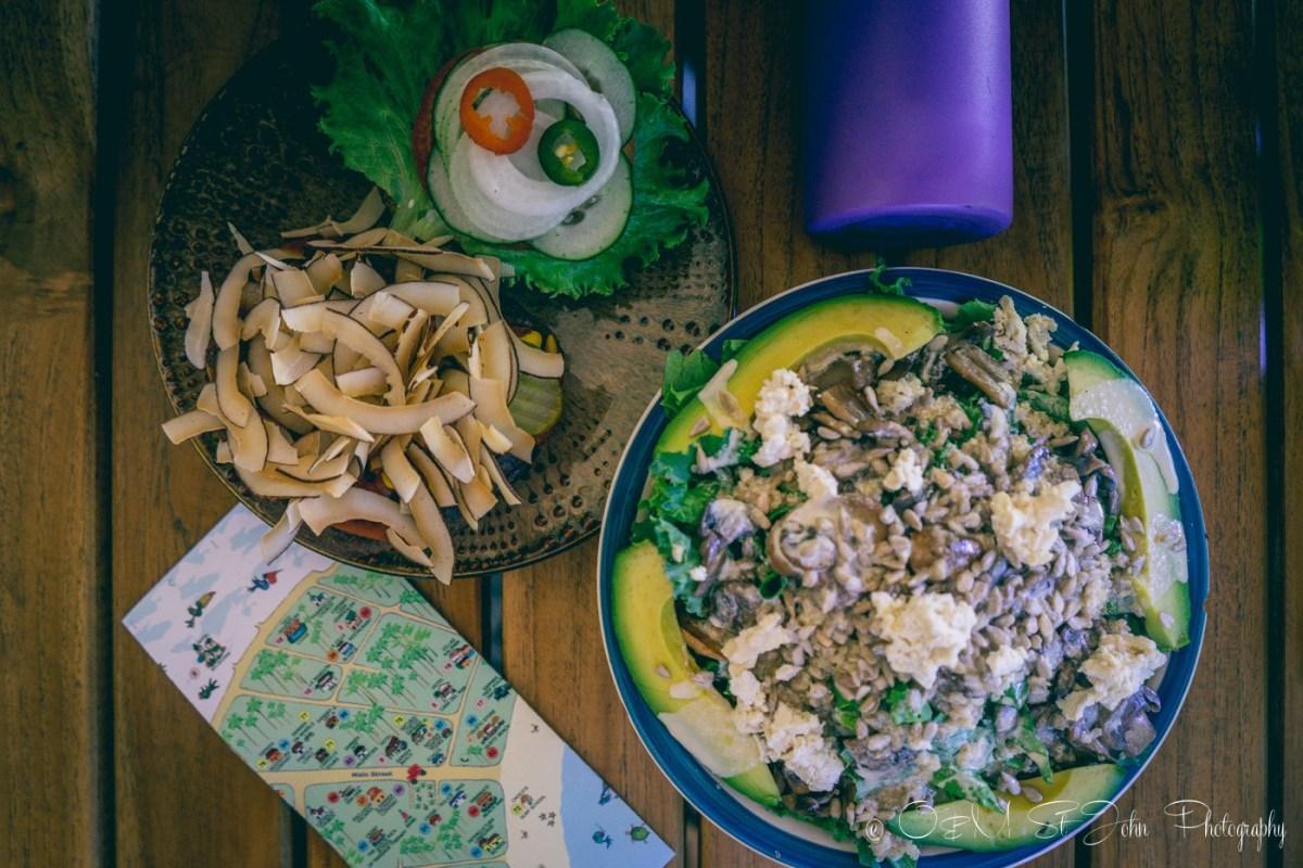 Vegetarian burger and yogi superfoods bowl at Love Burger. Samara. Costa Rica