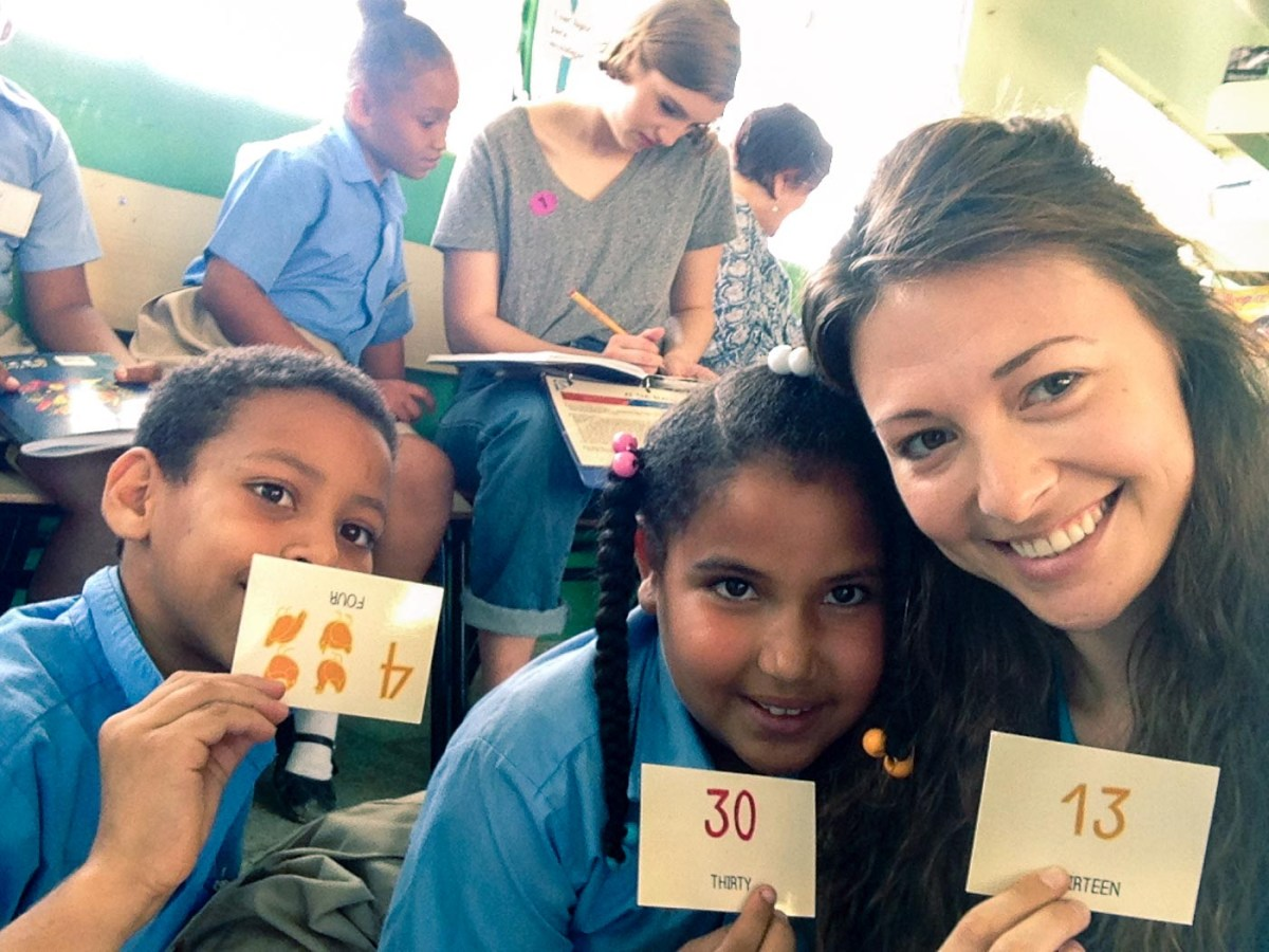 Oksana with Aracelis and Willis, students from El Cupey Isabelle Merenes School in Puerto Plata, Dominican Republic