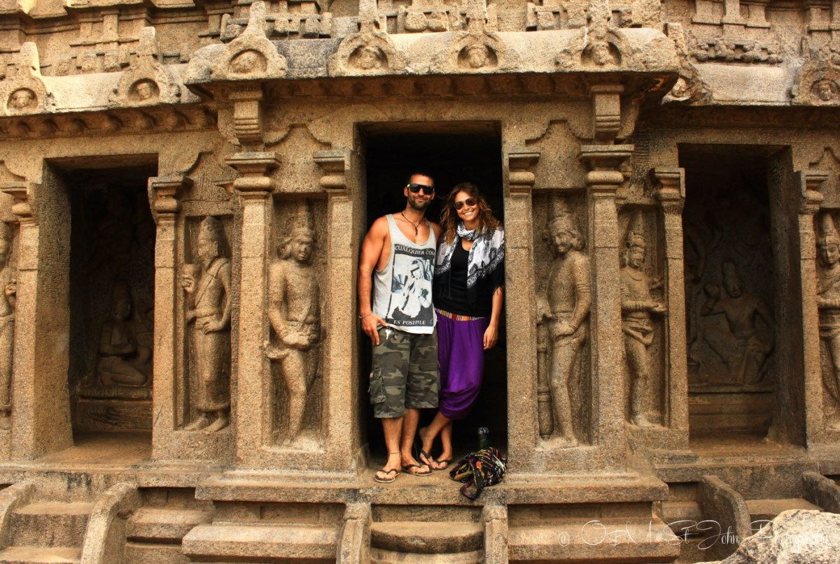 Max and Oksana at ruins in Mahabalipuram, India