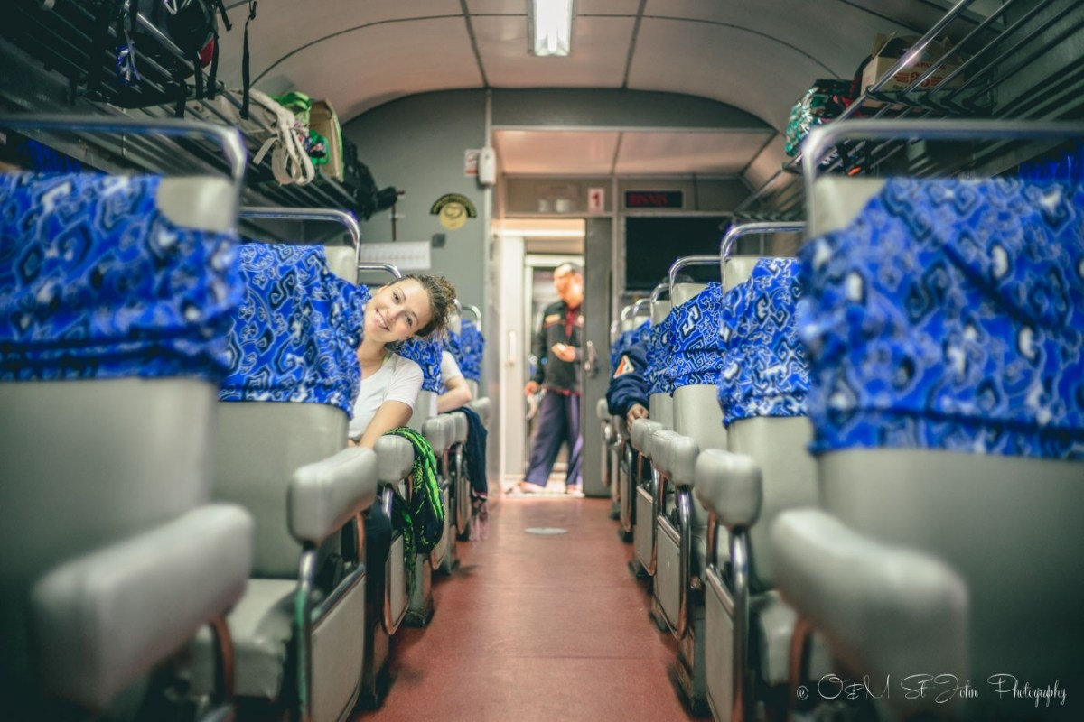 Oksana on the train in Indonesia