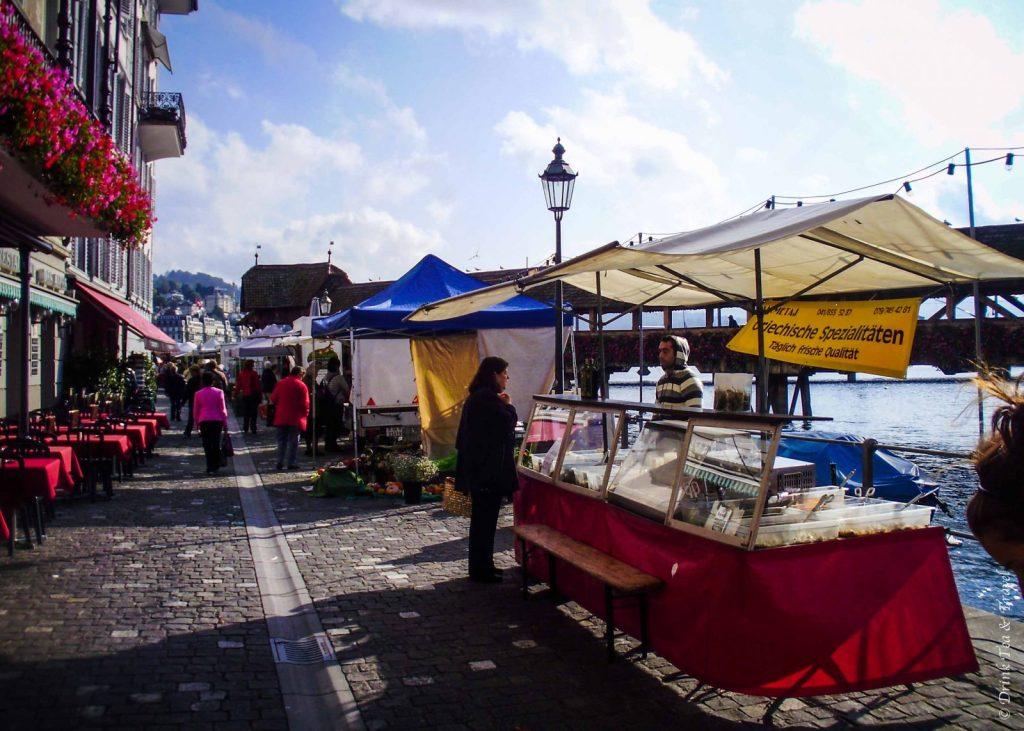 Produce market in Lucerne, Switzerland