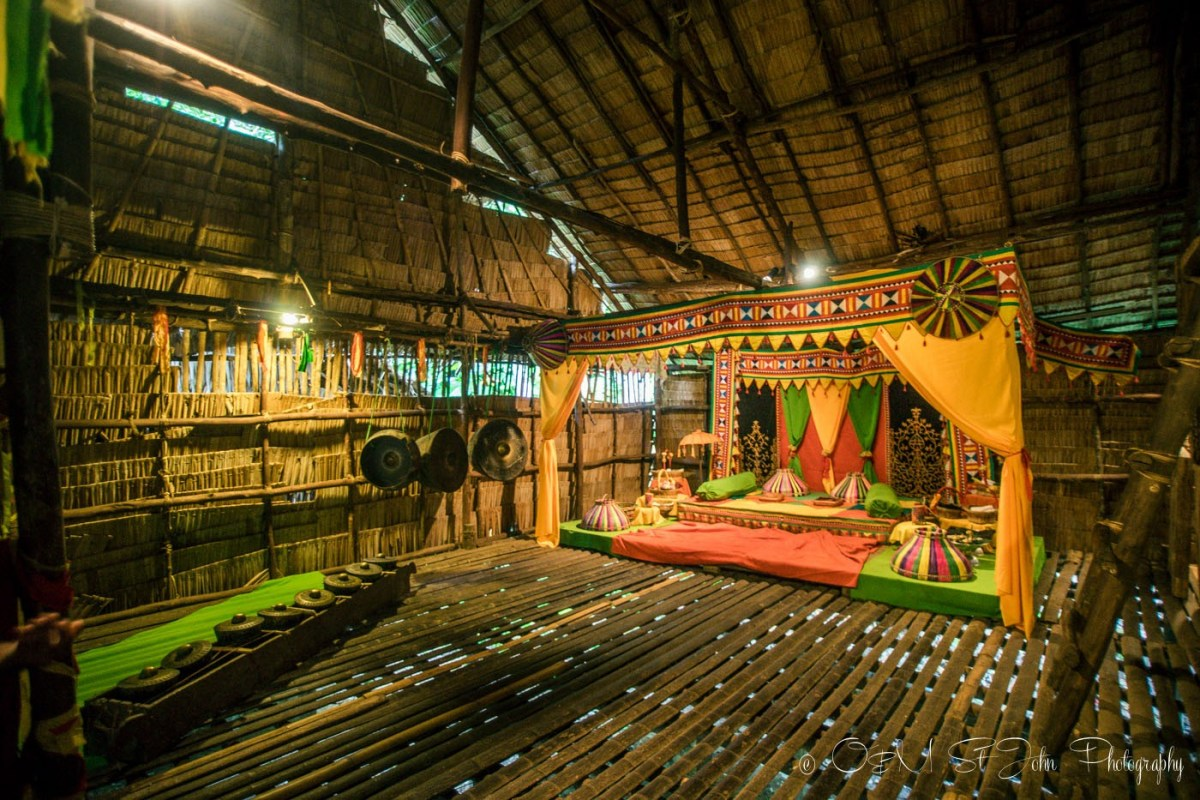 Traditional wedding set up inside one of the huts at the Mari Mari Cultural Village. Sabah. Malaysia