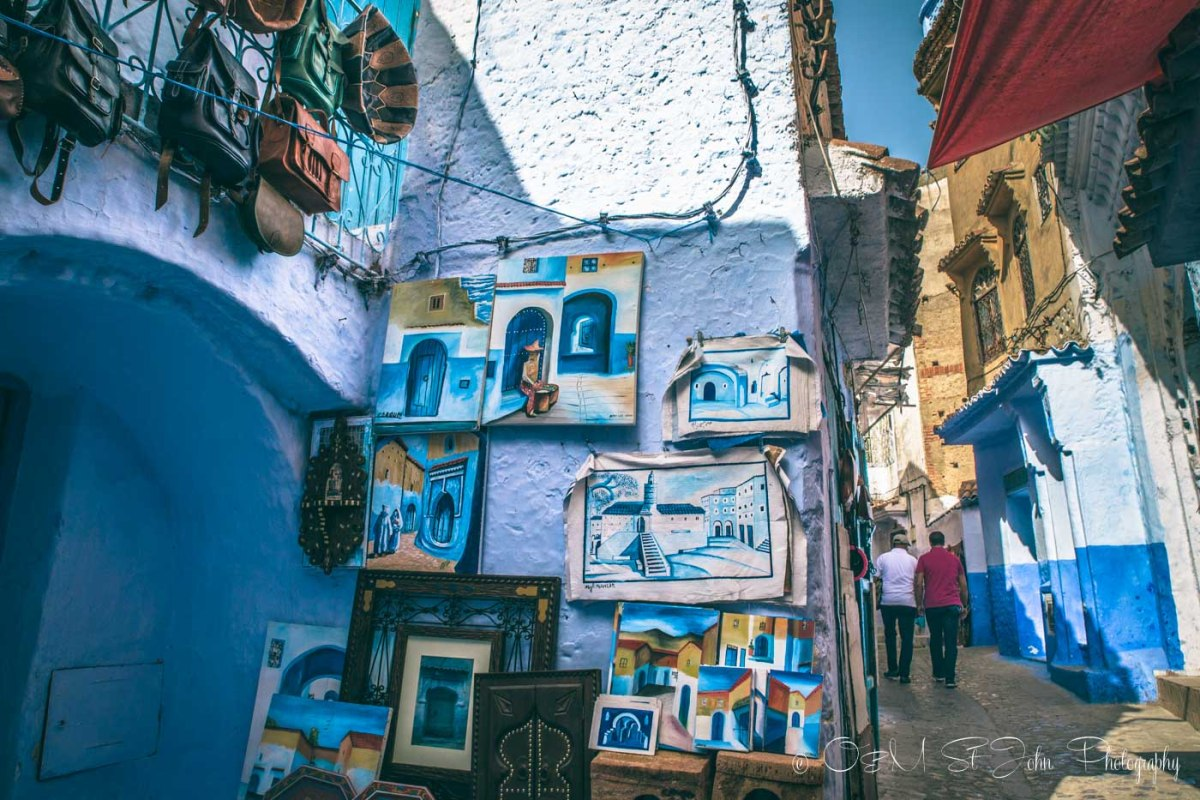 Paintings of Chefchaouen sold in the alleyways of Chefchaouen.