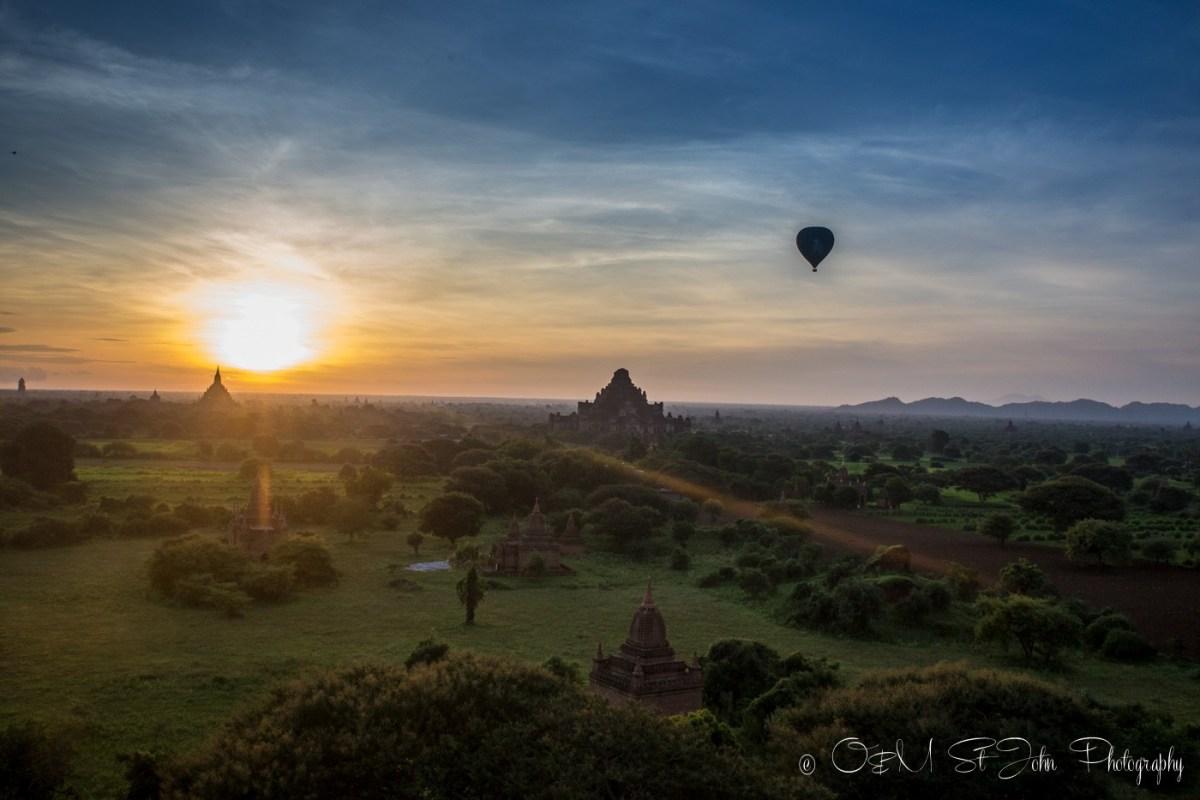 Hot air balloon at sunrise in Bagan. Myanmar
