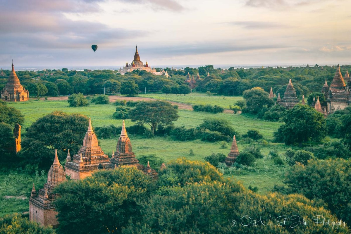 Myanmar travel: Hot air balloon flies over Bagan. Myanmar