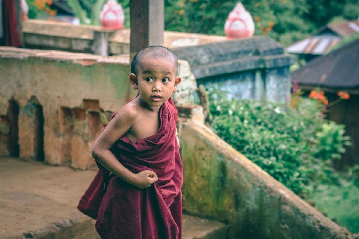 Novice Burmese monk in Myanmar