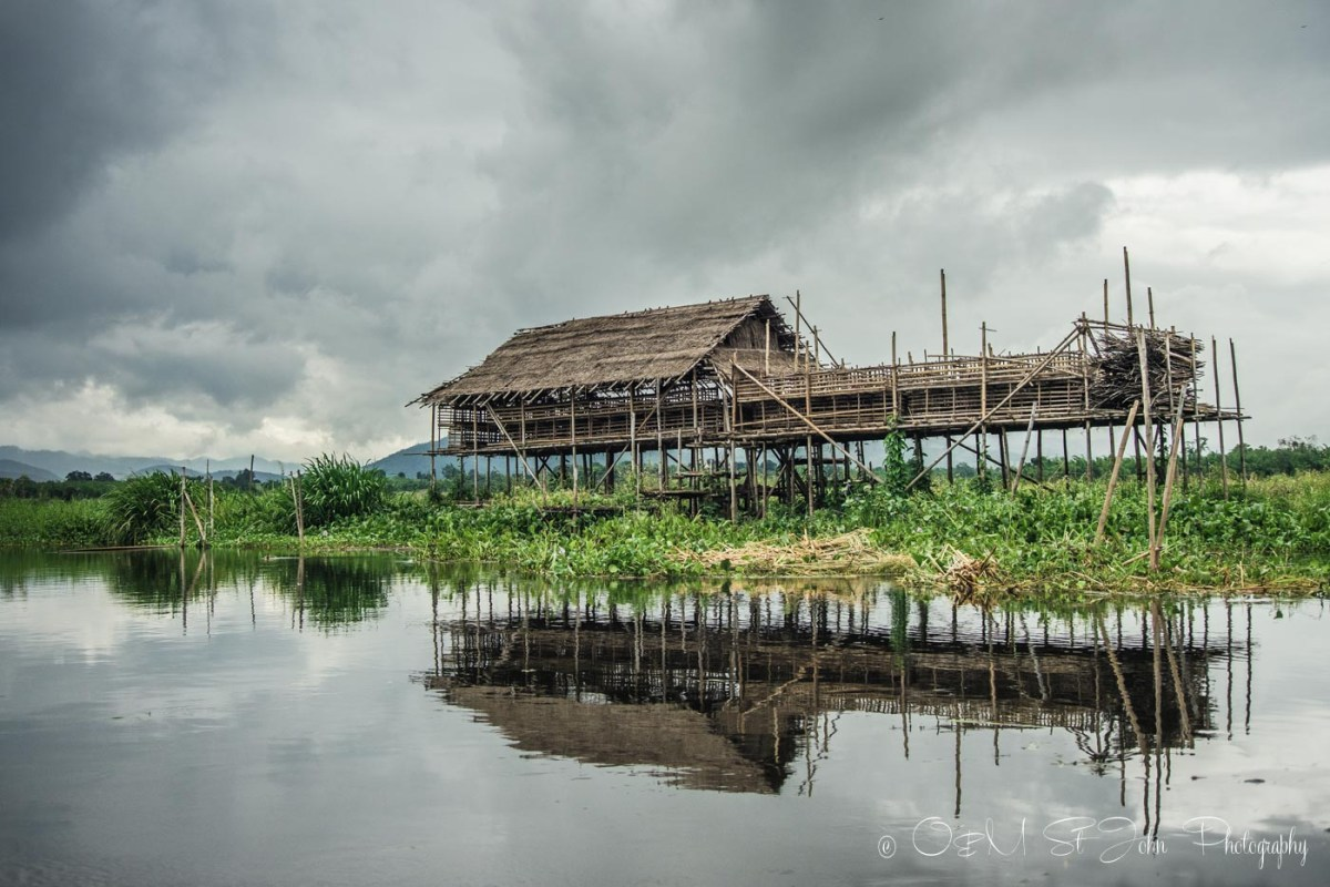 Foating abandoned home on Inle Lake
