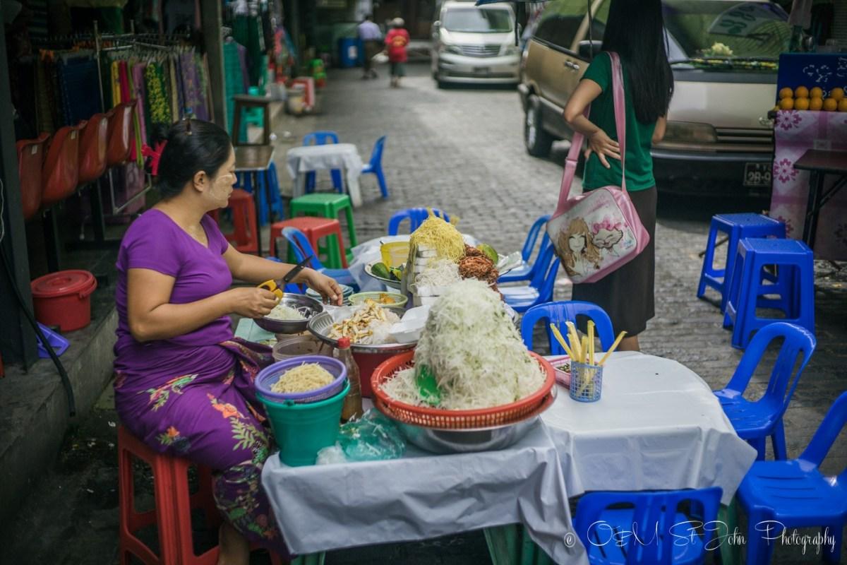 Food stall outside the Bogyoke Aung San Market. Yangon. Myanmar
