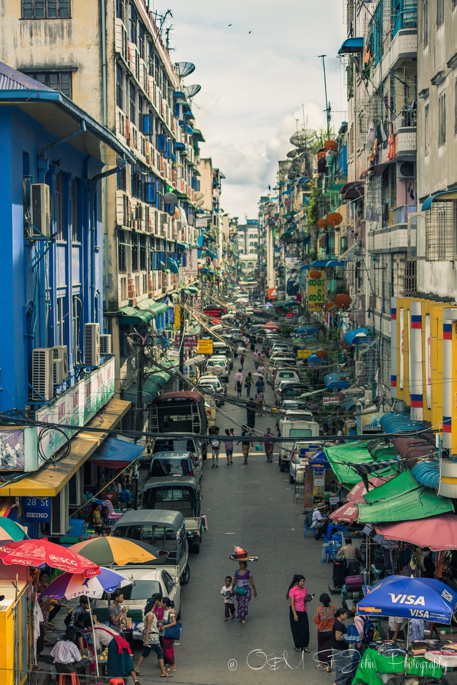 Street in Yangon. Myanmar