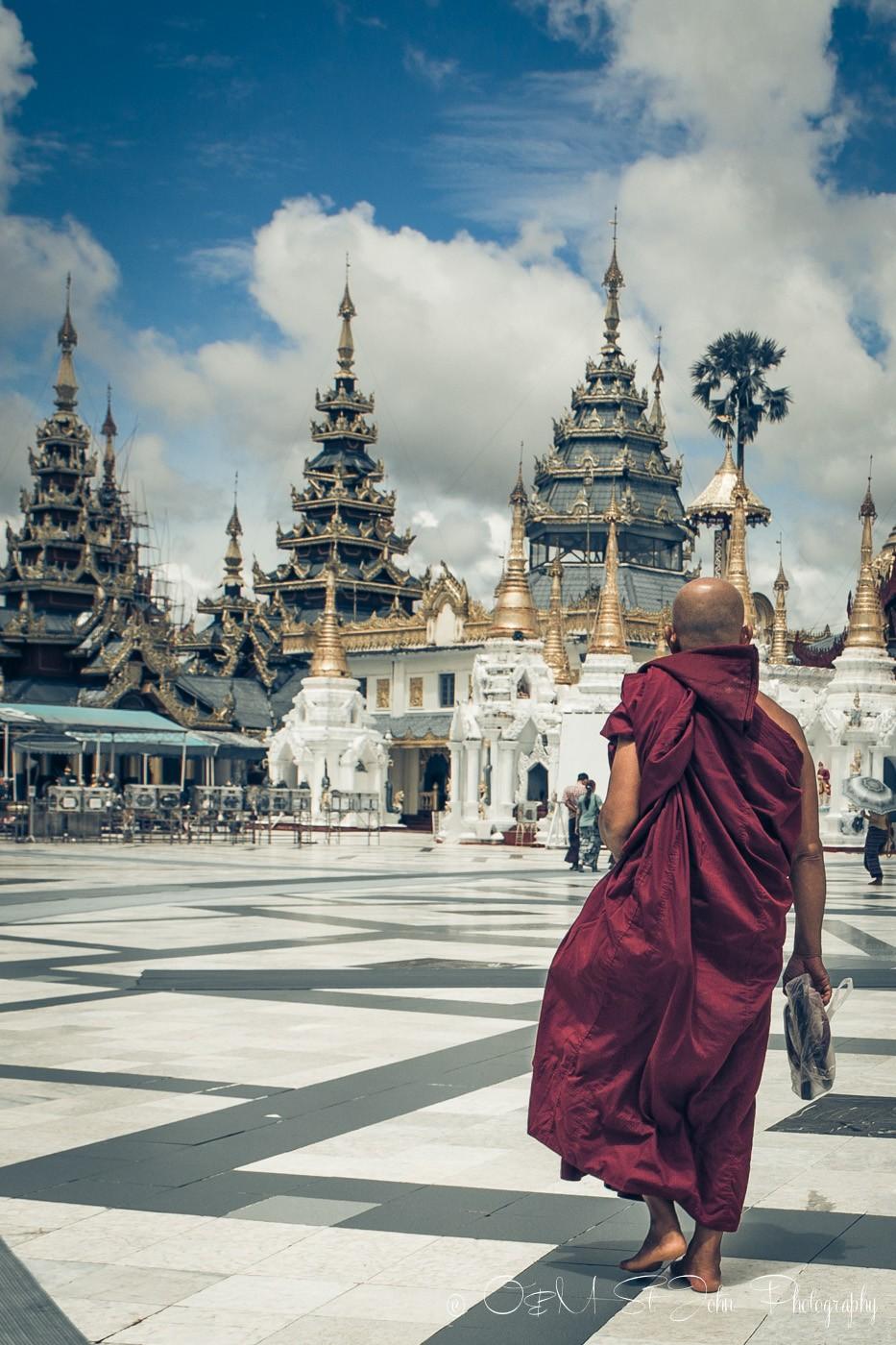 Monk at the Shwedagon Pagoda. Yangon. Myanmar