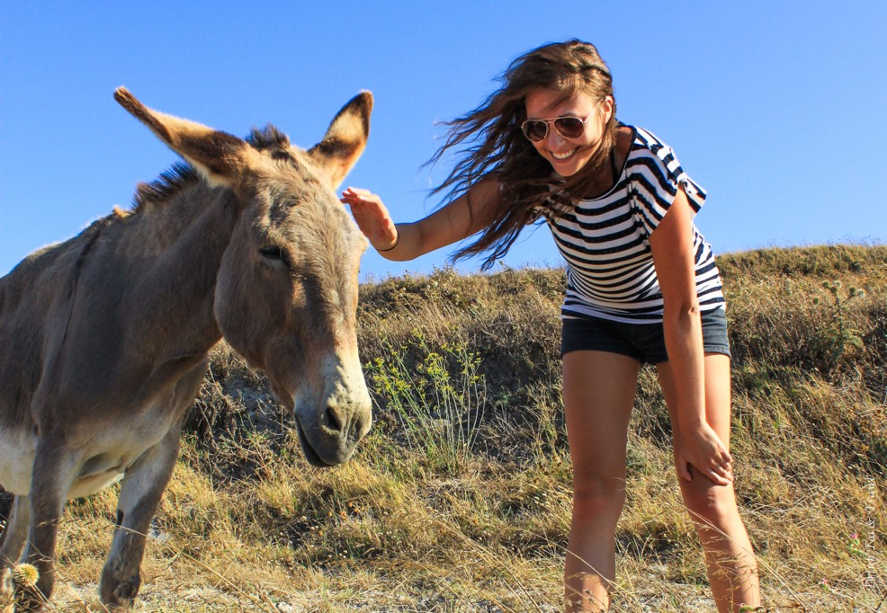 Oksana and Donkey in Greece