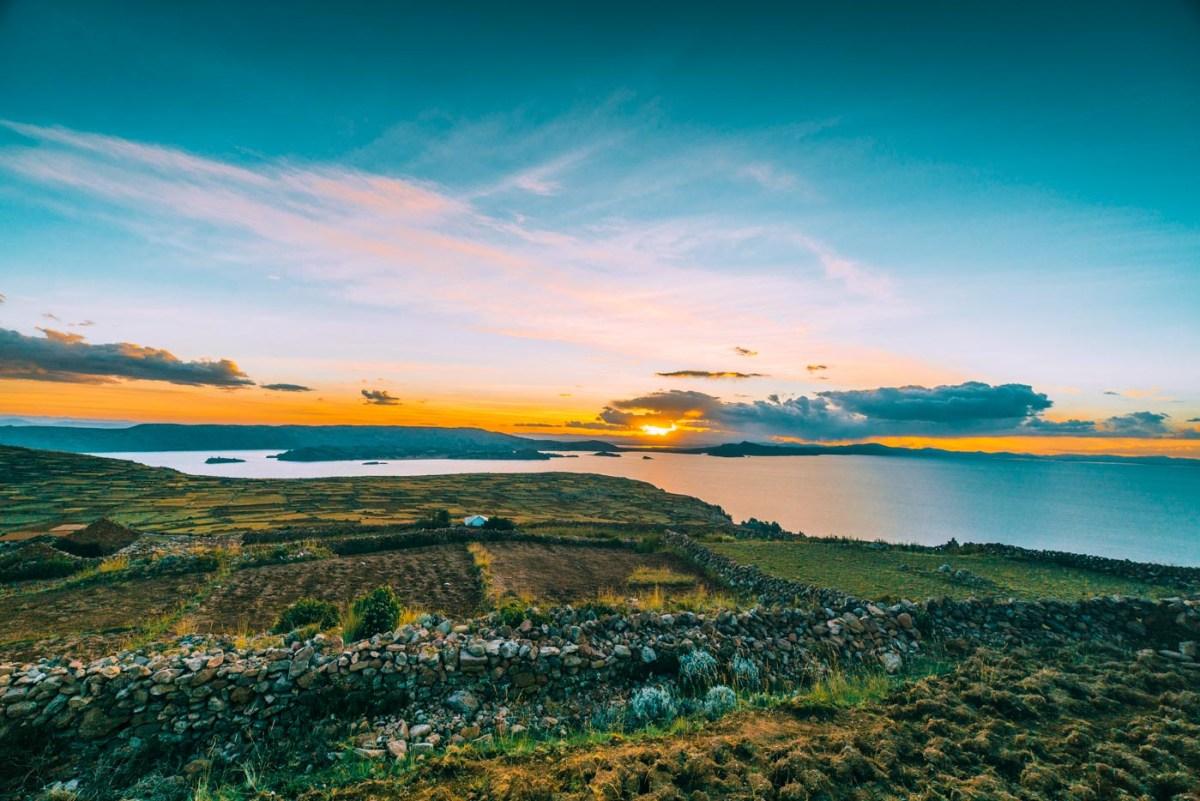Sunset view from Pachatata on Amantani Island, Lake Titicaca