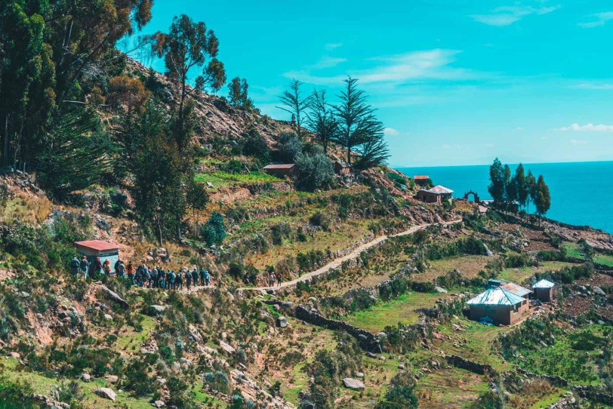 Trail with one hell of a view on Taquile Island, Lake TIticaca