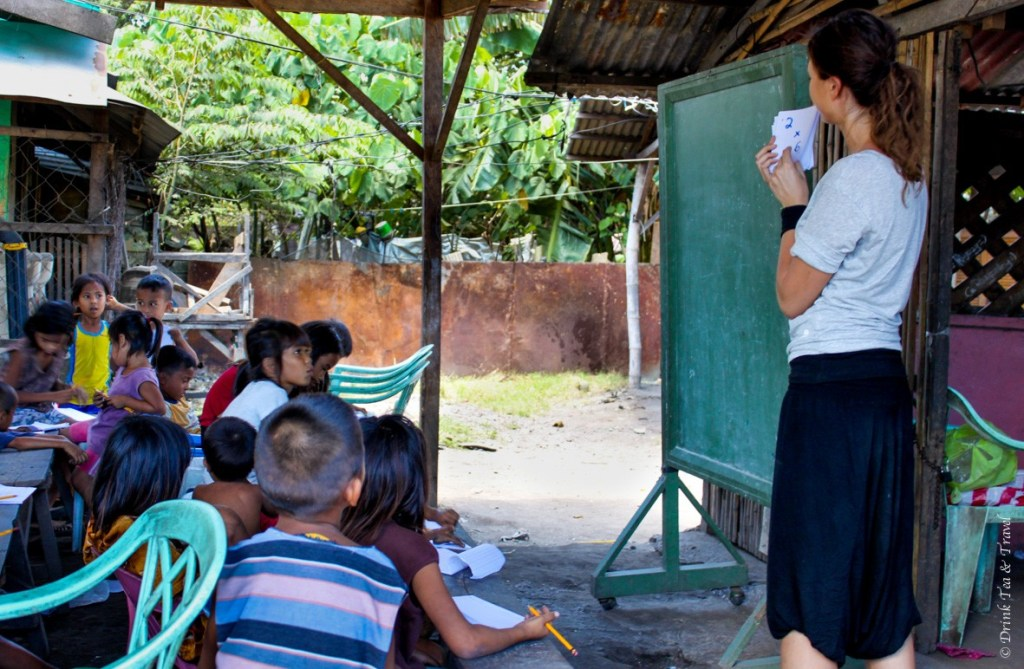 Teaching kids at a dumpsite in near Cebu in Philippines