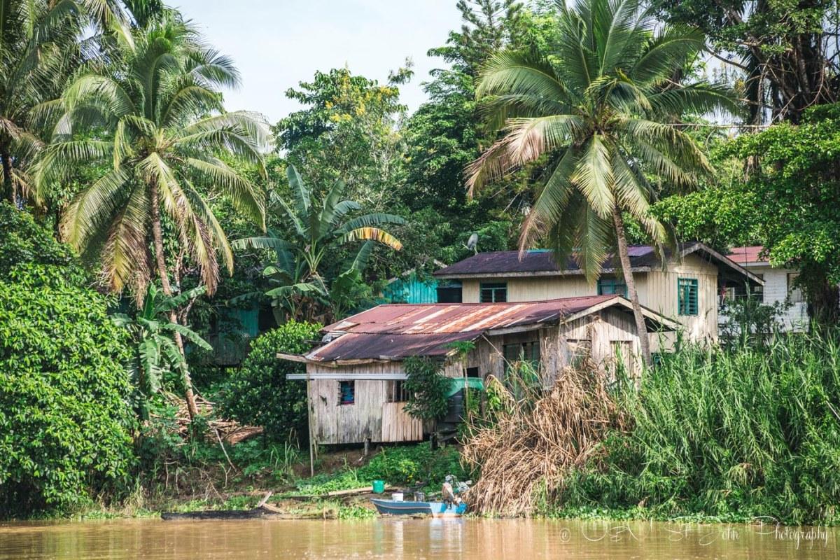 Village on the banks of Kinabatangan River. Sabah. Malaysian Borneo