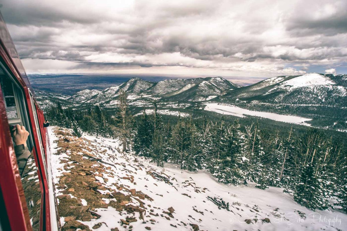 Overlooking Rocky Mountains from the Pikes Peak Cog Railway in Colorado Springs, USA. Road Trip