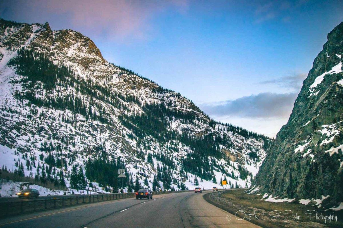 Colorado road trip: Scenic Drive from Denver to Glenwood Springs along I-70. Colorado. USA