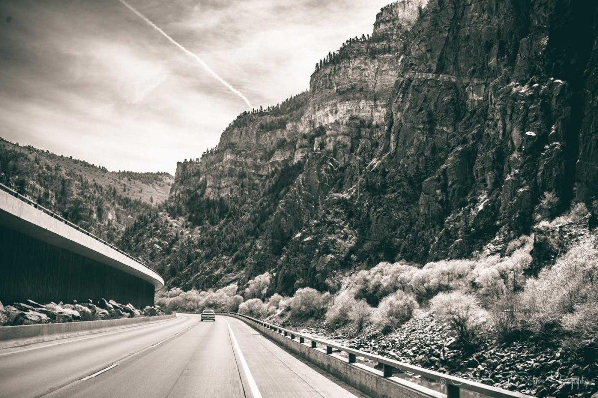 Driving through the Glenwood Canyon. Colorado. USA