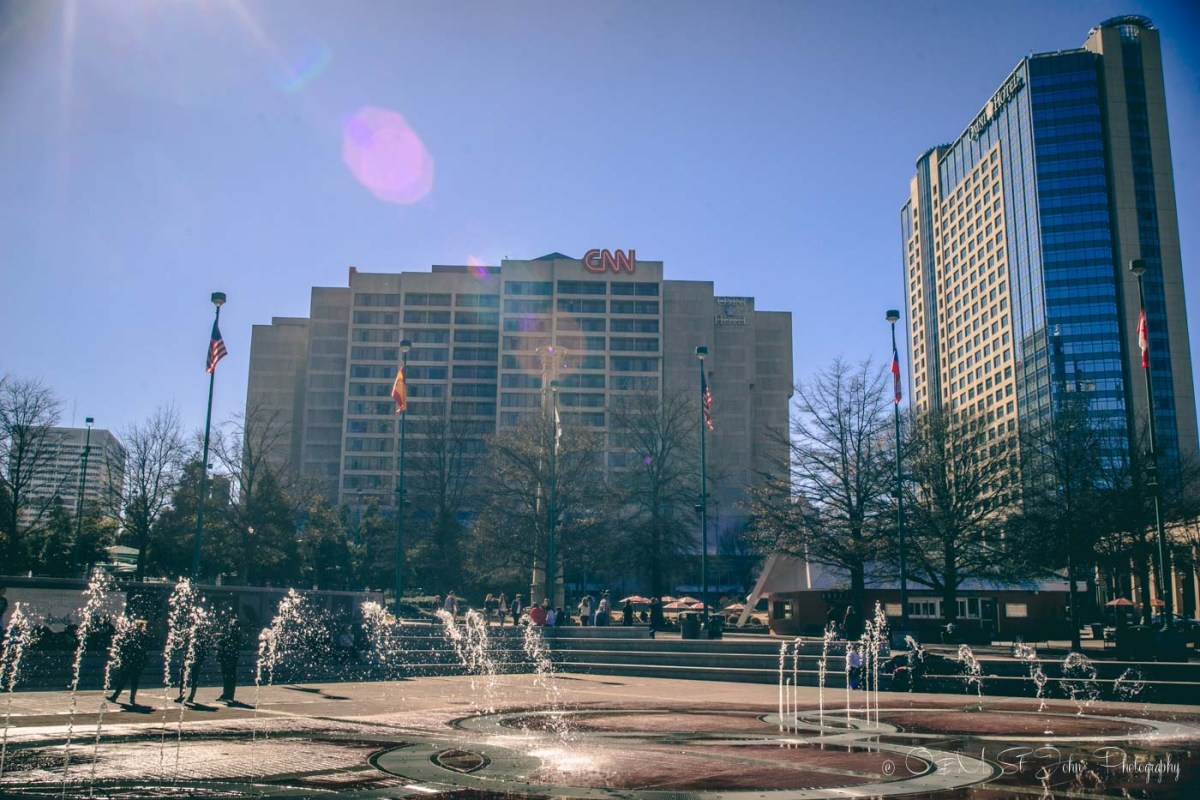 Centennial Olympic Park with CNN building in the background. Atlanta. USA
