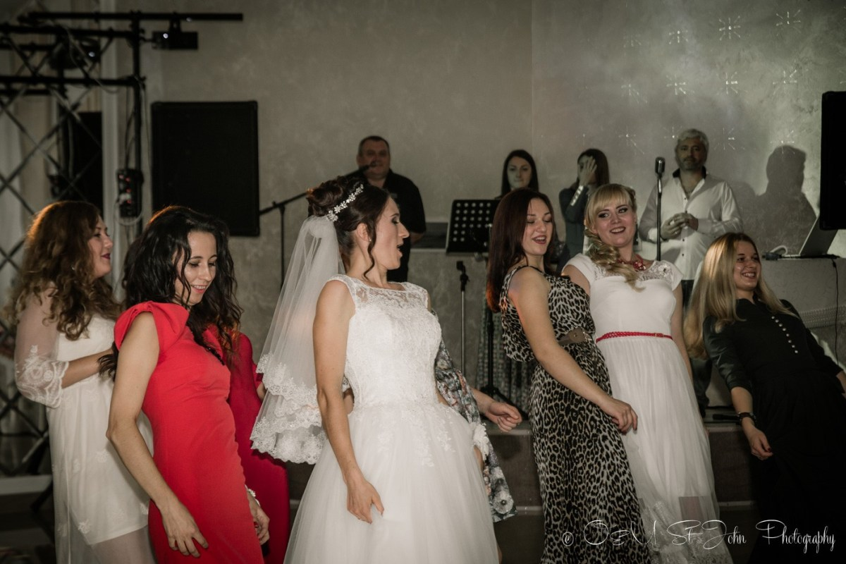 Ladies dancing at cousin's wedding in Ukraine
