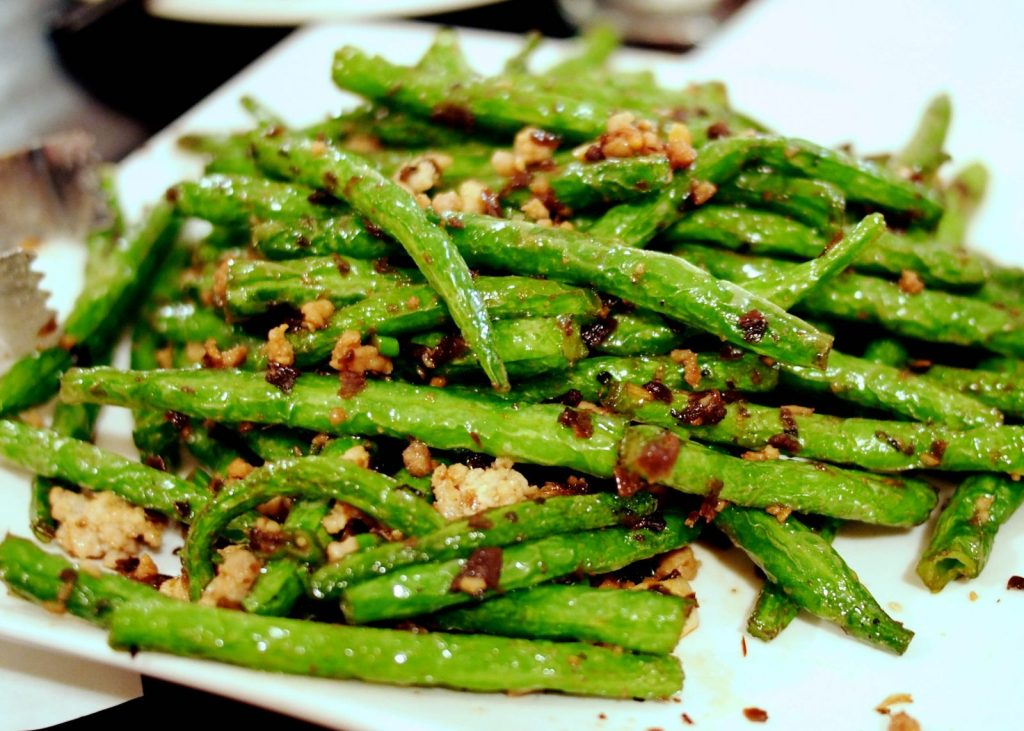 chinese food - fried green beans with pork