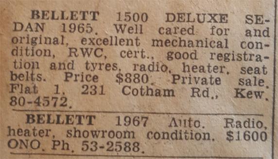 Bellett Classic Cars Australia