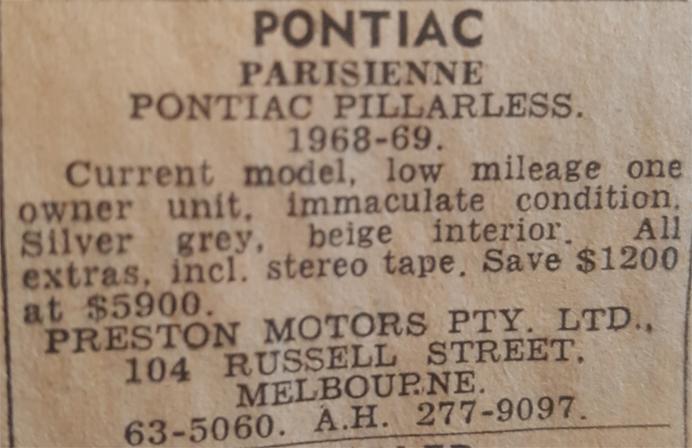 Pontiac Classic Cars Australia