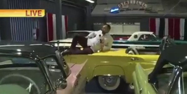 Watch: Reporter fired after damaging classic cars on live TV