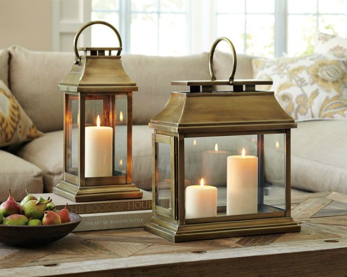 Decorative Lanterns  Ideas   Inspiration for Using them in Your Home     A pair of brass lanterns is a simple  beautiful way to decorate your coffee  table