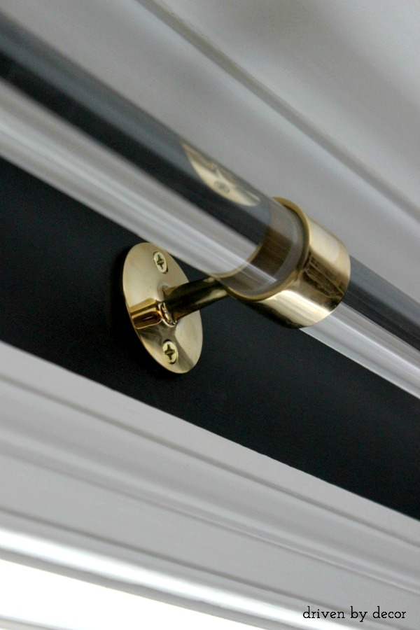 acrylic curtain rods with brass