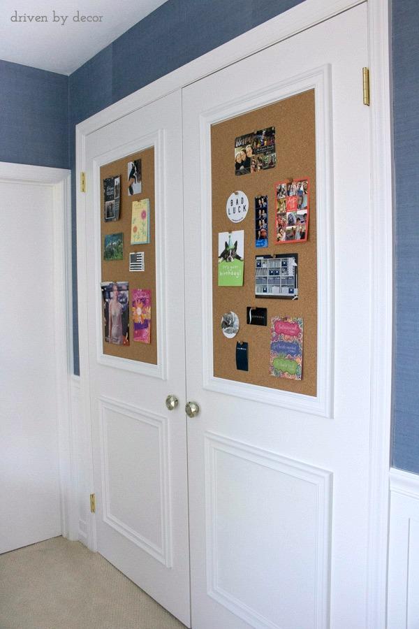 Cork Board Closet Doors Boring Flat Doors No More