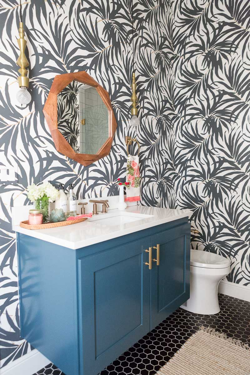 My Secret Weapon for Wallpapering Your Bathroom    Driven by Decor Love the black and white palm frond wallpaper in this gorgeous bathroom by  CC   Mike