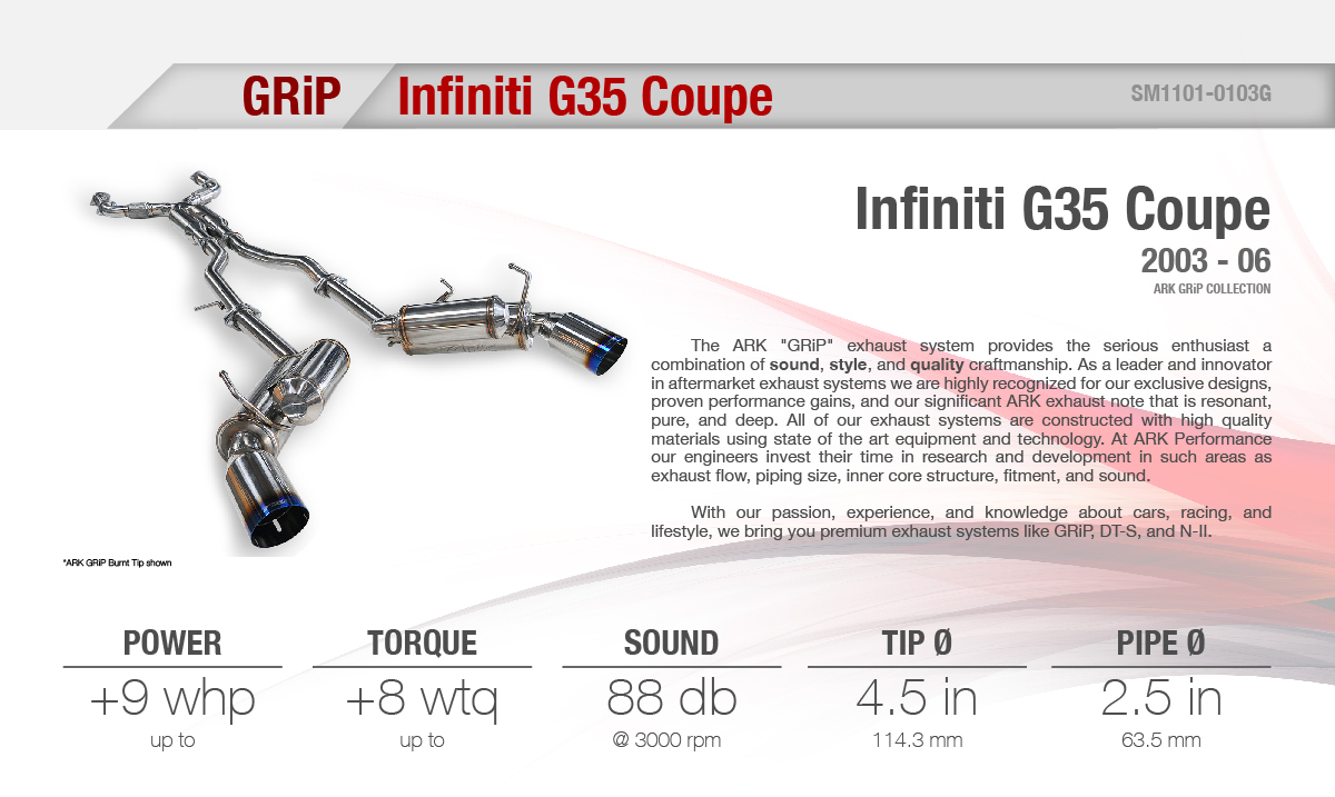2003 2006 infiniti g35 coupe grip cat back exhaust system