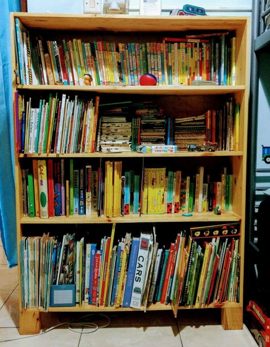 bookcase with 519 children's books post cleanup