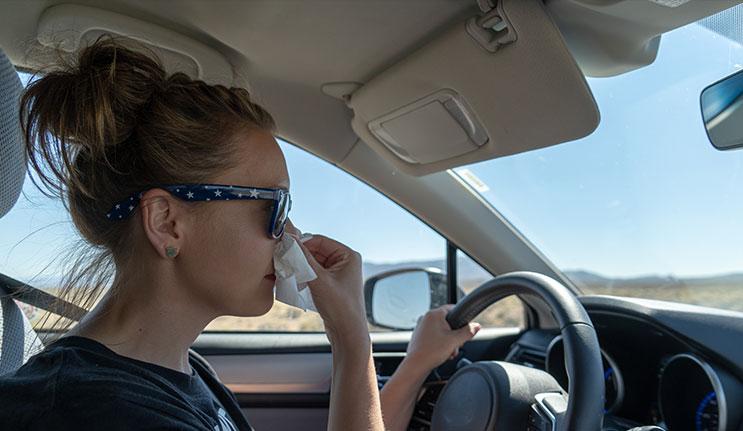 Sick Woman Driving