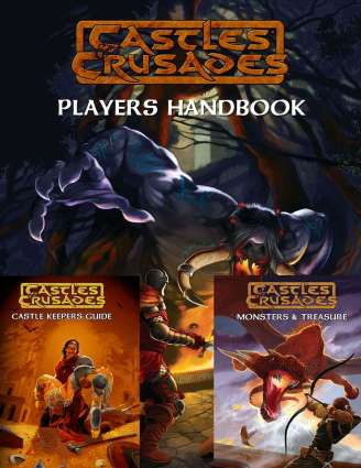 Castles and Crusades 3 Sisters Bundle contains the Players Handbook, Castle Keepers Guide and Monsters & Treasure