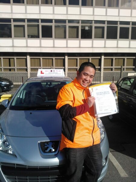Johann passed his driving test first time